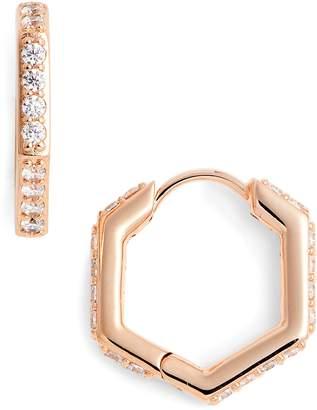 Nadri Hexagon Huggie Earrings