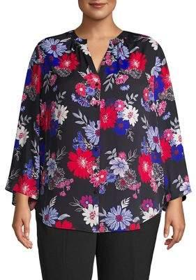 Context Plus Long-Sleeve Floral-Print Blouse