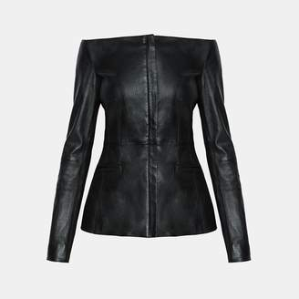 Theory Off-The-Shoulder Leather Jacket