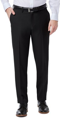 Haggar Mens Premium Comfort Flex-Waist Slim-Fit Stretch Flat-Front Dress Pants