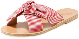 Ancient Greek Sandals Gingham Fabric Knotted Sandal