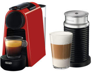 Nespresso NEW by Delonghi Essenza Mini & Milk capsule coffee machine: EN85RAE Red