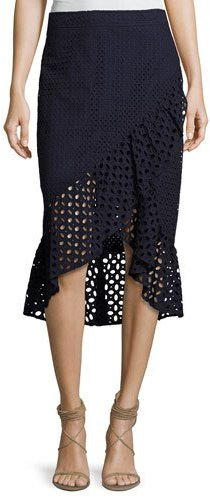 Trina Turk Nikita Cotton Eyelet Wrap Skirt