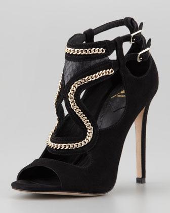 Brian Atwood Lollita Chain-Trim Cutout Sandal