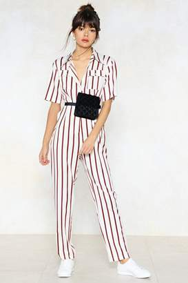 Nasty Gal You're Just My Stripe Utility Jumpsuit