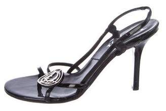 Christian Dior Patent Leather Logo Sandals