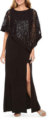 R & M Richards Sleeveless Embellished Cape Evening Gown