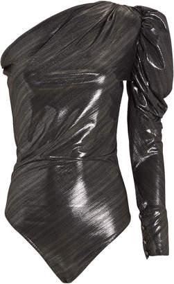 Dakota Alix Nyc Lame One-Shoulder Bodysuit