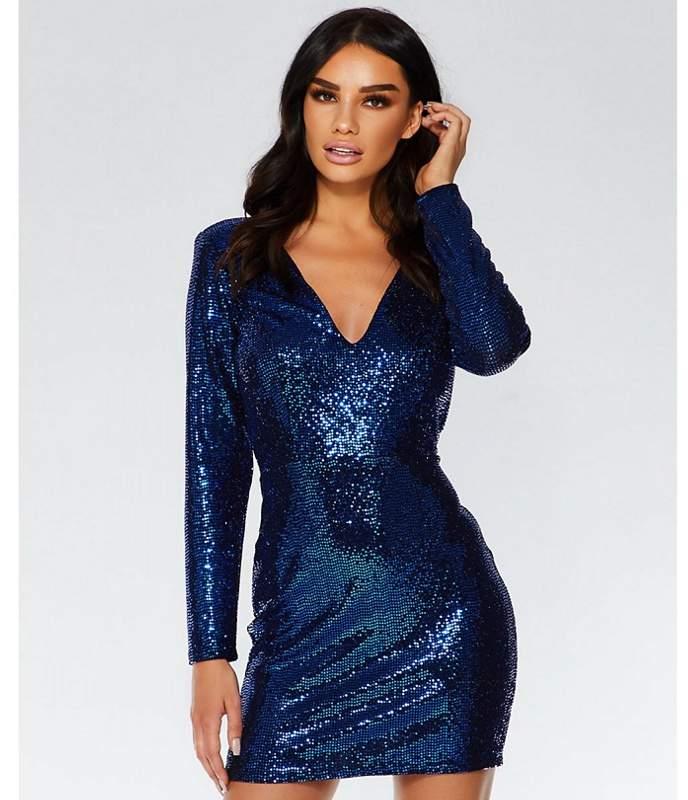 Towie Royal Blue Sequin Bodycon Dress