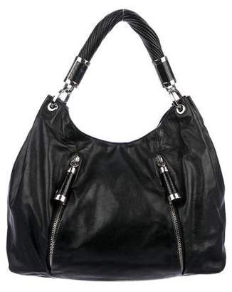 Pre Owned At Therealreal Michael Kors Snakeskin Trimmed Tonne Hobo