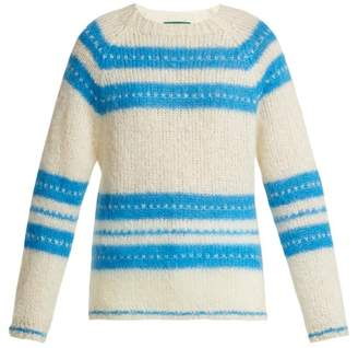 ALEXACHUNG Striped Mohair Blend Sweater - Womens - White Multi