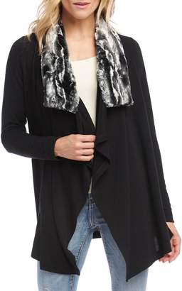 Karen Kane Faux Fur Collar Knit Jacket