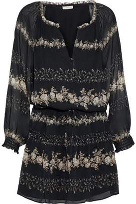 Joie Jewels Gathered Floral-Print Silk-Georgette Mini Dress