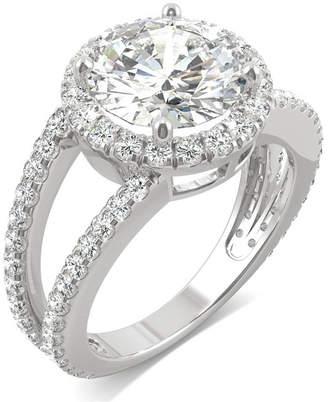 Charles & Colvard Moissanite Round Split Shank Halo Ring (3-3/8 ct. tw.) in 14k White Gold