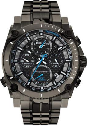 Bulova Men Chronograph Precisionist Gray-Tone Stainless Steel Bracelet Watch 47mm 98B229
