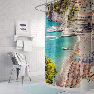 Ruby and B Positano Beach Fabric Shower Curtain