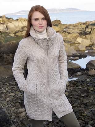 100% Merino Wool Aran Crafts Ladies Double Collar Coat Parsnip