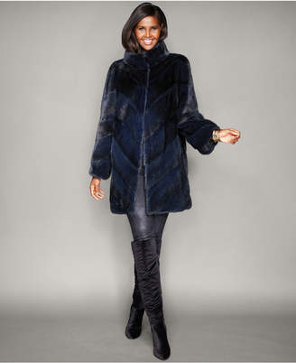 The Fur Vault Chevron-Striped Mink Fur Coat