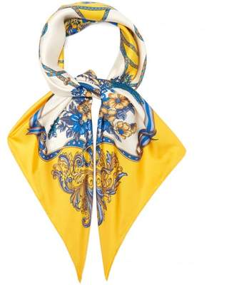Gucci Floral And Tassel Print Silk Twill Scarf - Womens - Yellow