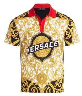 Versace Hibiscus Baroque Logo Polo