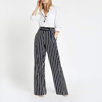 River Island Navy stripe wide leg trousers
