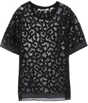 Stella McCartney Animalier Faux Leather-appliqued Silk-chiffon T-shirt