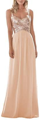 Dressyu Women's Sequined Chiffon Long Prom Bridesmaid Dress Wedding Formal Gown US