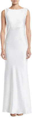 Jay Godfrey JAY X JAYGODFREY Price Cowl-Back Sleeveless Satin Trumpet Gown