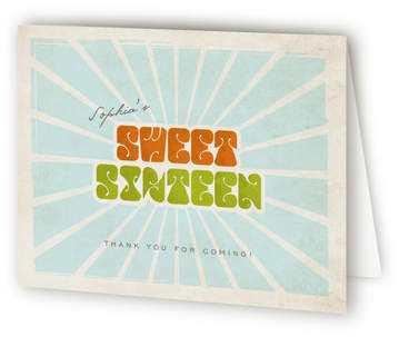 Seventies Sweet Sixteen Party Thank You Cards