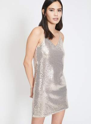 Miss Selfridge Champagne sequin embellished mini slip dress