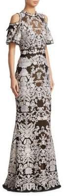 Marchesa Cold-Shoulder Lace Gown