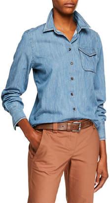 Brunello Cucinelli Safari-Pocket Denim Button-Front Blouse