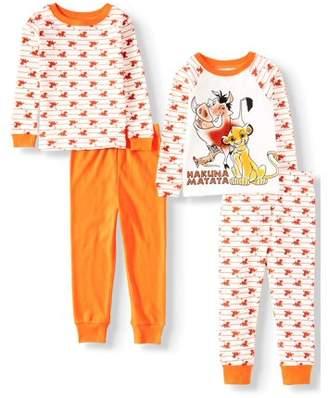 Lion King Long Sleeve Cotton Tight Fit Pajamas, 4-Piece Set (Toddler Girls)