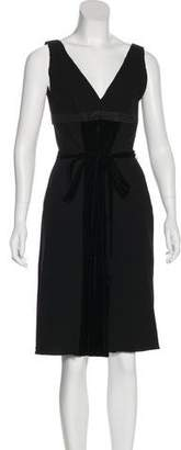 Prada Velvet-Accented Virgin Wool Dress