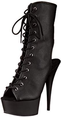 Pleaser Damen Delight1018 Stiefel Rot  35 EUBlack (Blk Faux Leather/Blk)