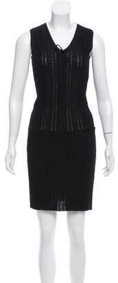 Anna Sui Crochet Knit Knee-Length Dress