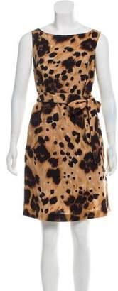 RED Valentino Wool Animal Print Dress