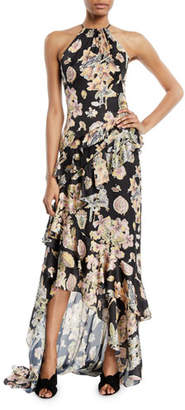 Theia Floral Decoupage-Print Ruffle Halter Gown