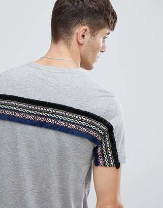Asos DESIGN longline t-shirt with back geo-tribal taping in gray
