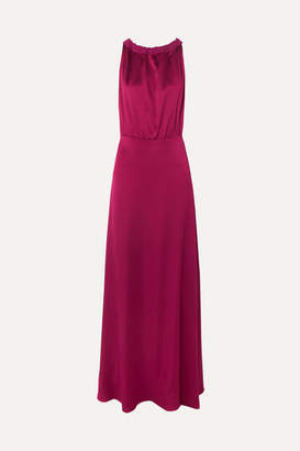 Les Héroïnes The Anne-josèphe Hammered-satin Halterneck Maxi Dress - Burgundy