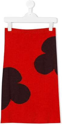 Marni floral print ribbed skirt