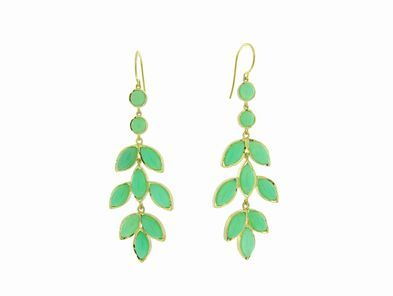 Irene Neuwirth Long Marquis Chrysophase Leaf Earrings