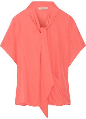 Etro - Pussy-bow Silk Crepe De Chine Blouse - Coral $710 thestylecure.com