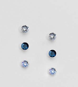 Accessorize 3 pack sterling silver blue swarovski stud earrings