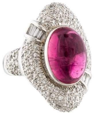 Ring Cabochon Tourmaline & Pavé Diamond