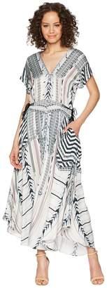 Hale Bob Travel Bright Rayon Stretch Satin Woven Maxi Women's Dress