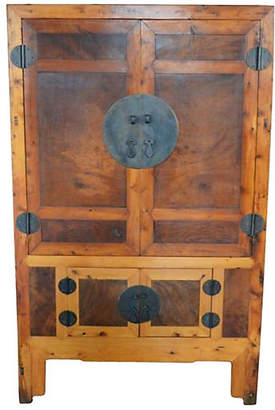 One Kings Lane Vintage Antique Chinese Brown Lacquered Cabinet - FEA Home