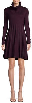 Calvin Klein Turtleneck Pleated Fit--Flare Dress