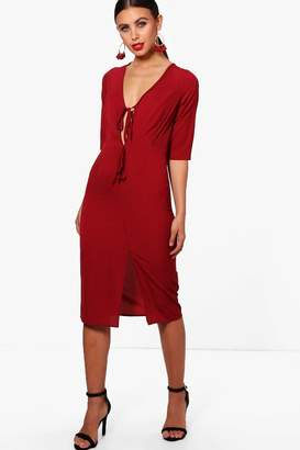 boohoo Petite Tailored Split Front Midi Dress