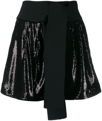 P.A.R.O.S.H. Obi belt sequin shorts